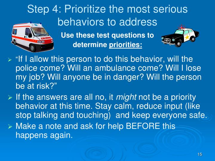 Step 4: Prioritize the most serious behaviors to address