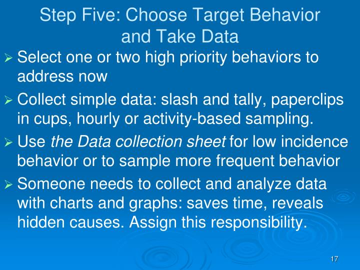 Step Five: Choose Target Behavior