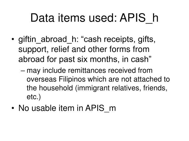 Data items used: APIS_h