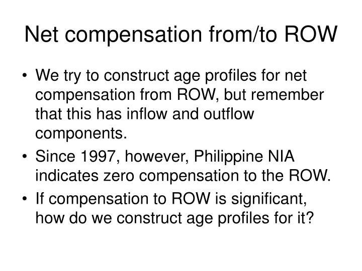 Net compensation from/to ROW