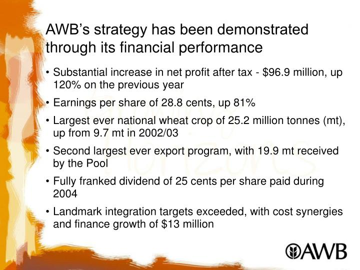 AWB's strategy has been demonstrated through its financial performance