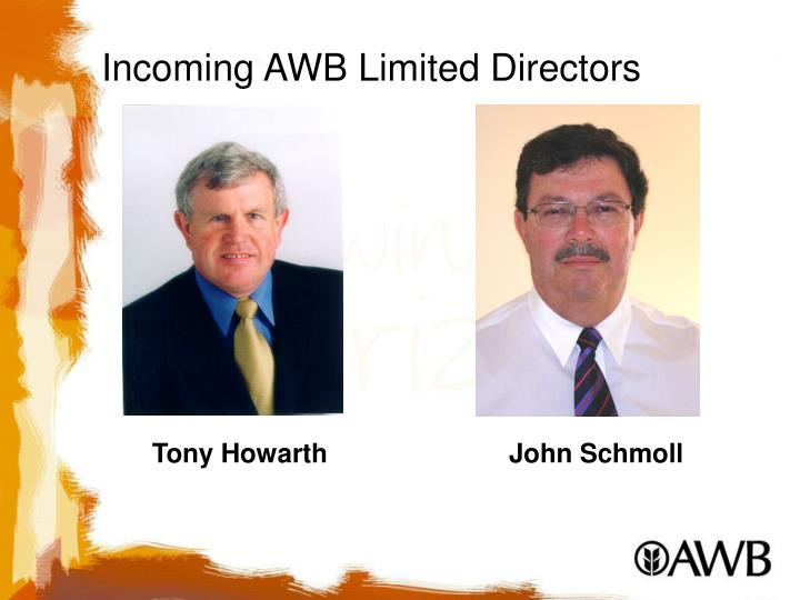 Incoming AWB Limited Directors