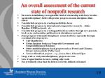 an overall assessment of the current state of nonprofit research