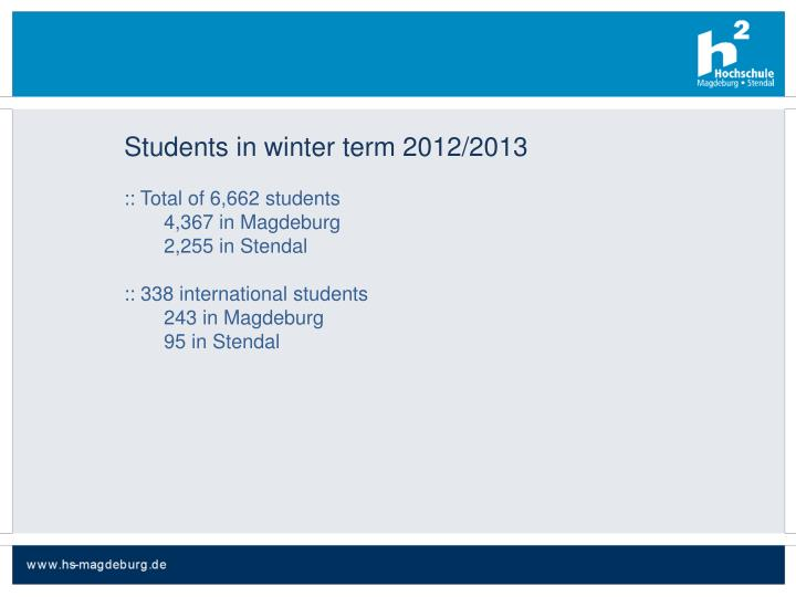 Students in winter term 2012/2013