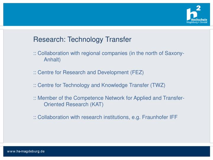 Research: Technology Transfer