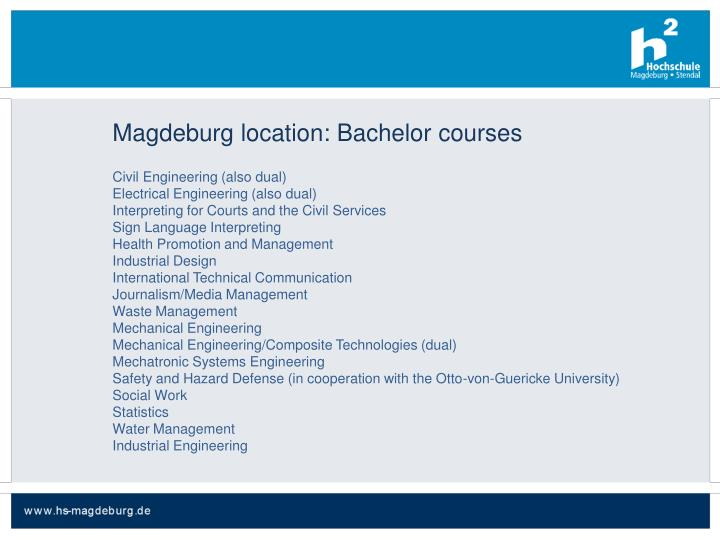Magdeburg location: Bachelor courses