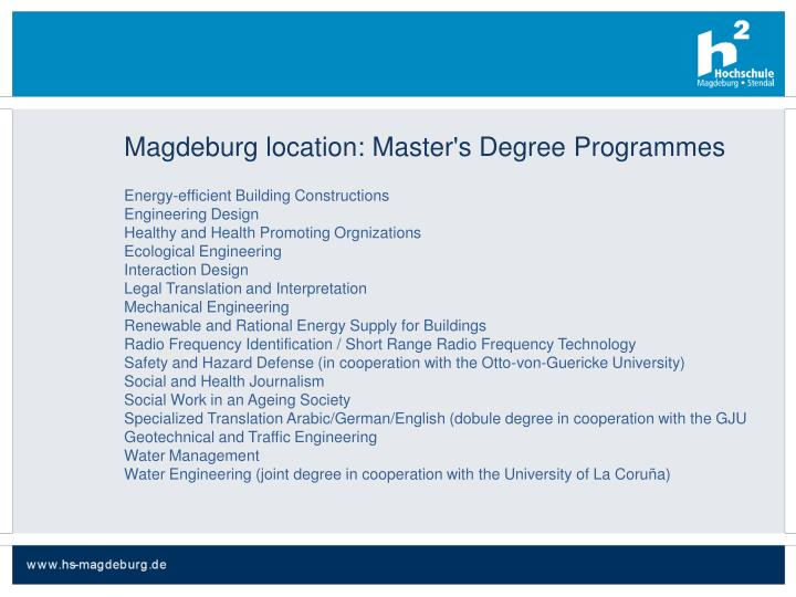Magdeburg location: Master's Degree Programmes