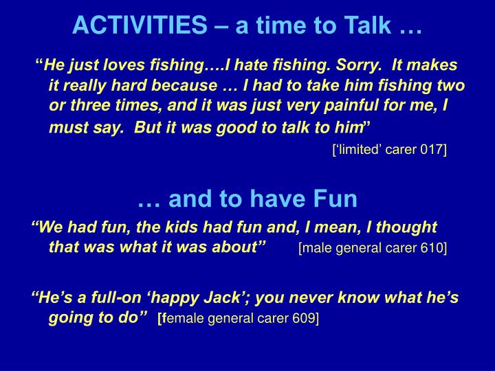 ACTIVITIES – a time to Talk …