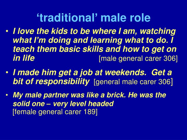 'traditional' male role