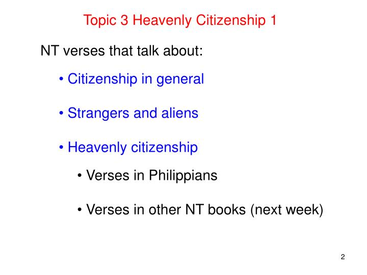 Topic 3 Heavenly Citizenship 1