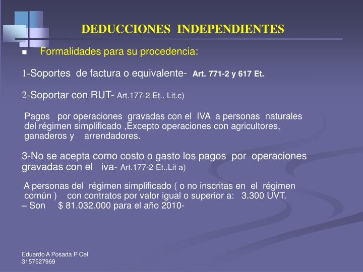 DEDUCCIONES  INDEPENDIENTES