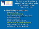 barriers to participation in randomised controlled trials a systematic review ross et al 1999