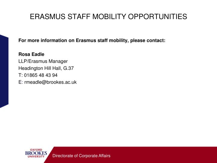 ERASMUS STAFF MOBILITY OPPORTUNITIES