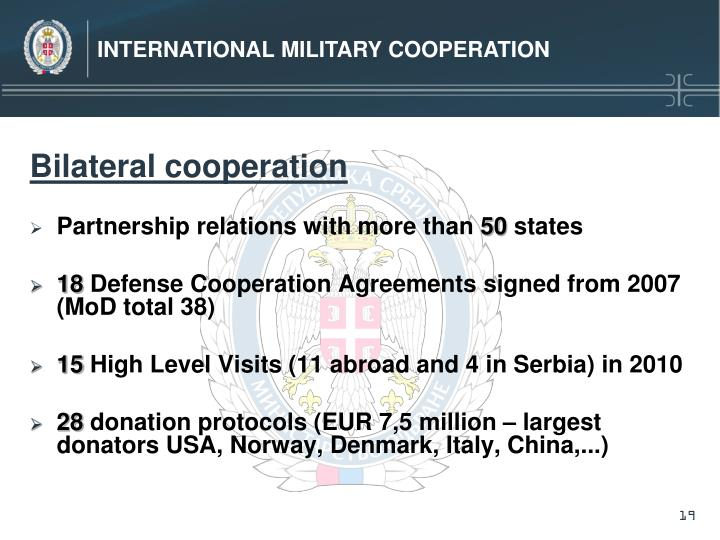 INTERNATIONAL MILITARY COOPERATION