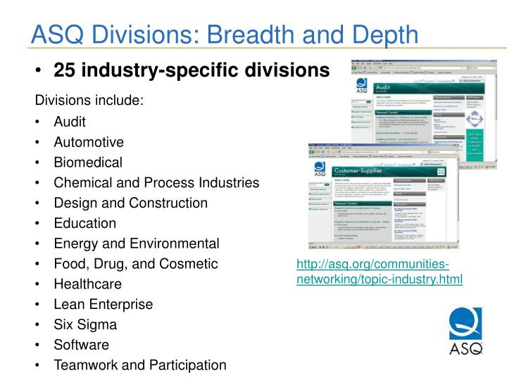 ASQ Divisions: Breadth and Depth
