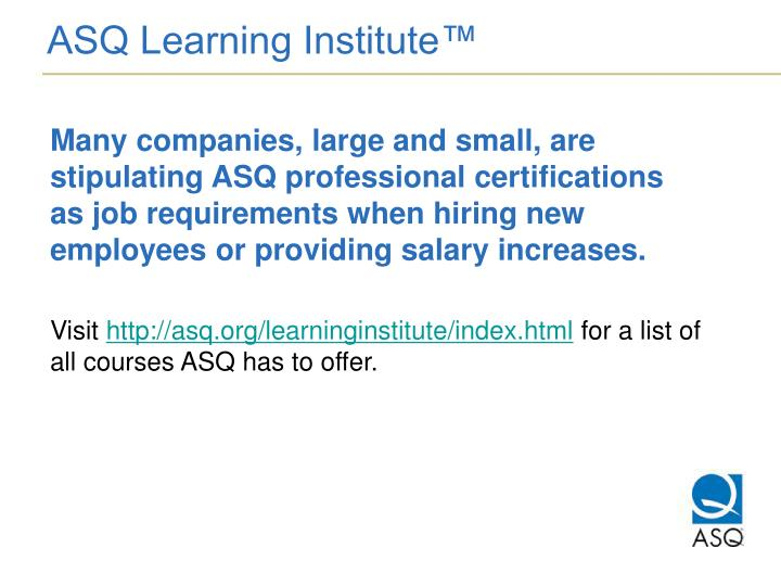ASQ Learning Institute™