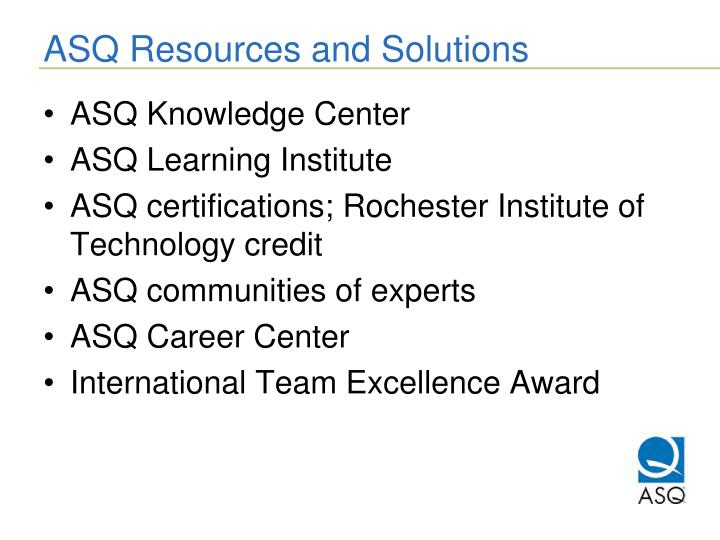 ASQ Resources and Solutions