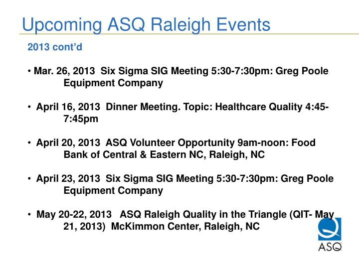 Upcoming ASQ Raleigh Events