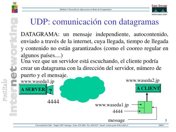 UDP: comunicación con datagramas
