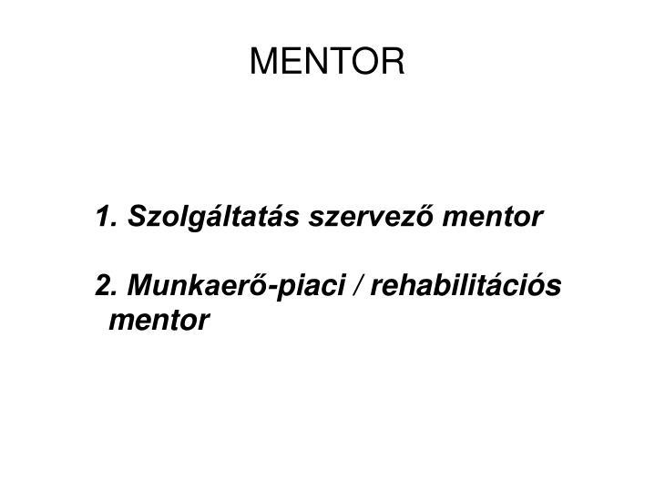 1. Szolgáltatás szervező mentor