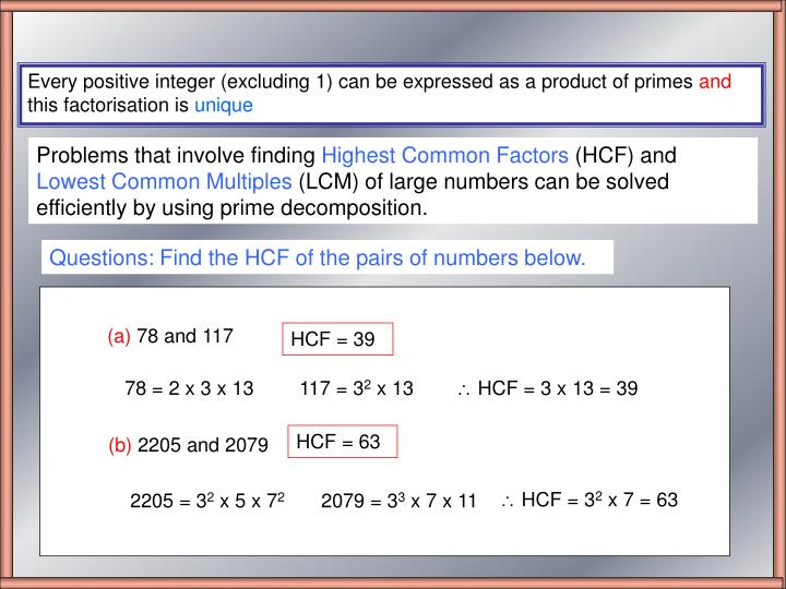 Questions: Find the HCF of the pairs of numbers below.