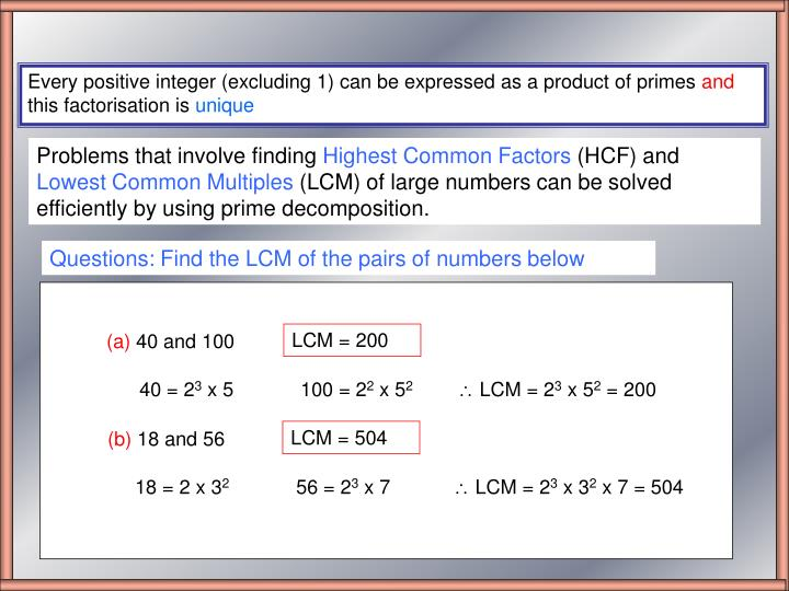 Questions: Find the LCM of the pairs of numbers below
