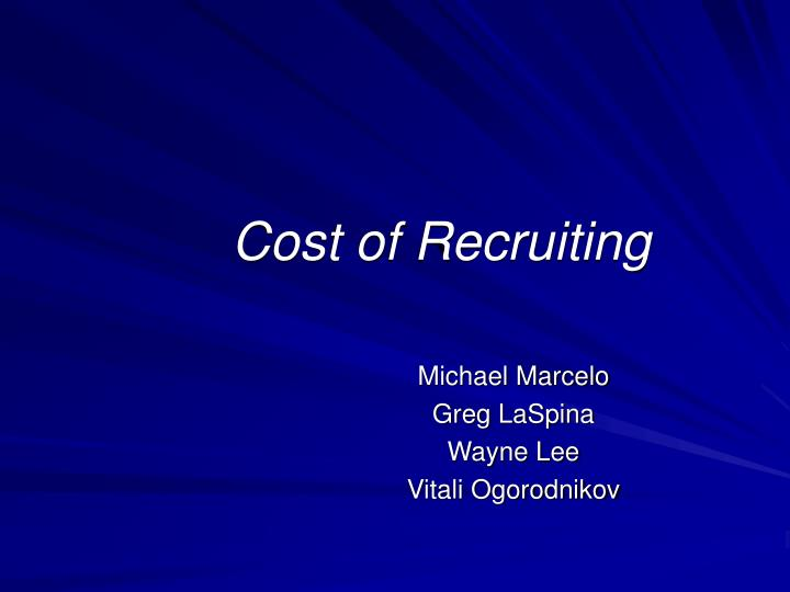 Cost of recruiting