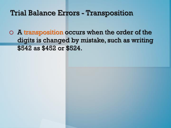 Trial Balance Errors - Transposition