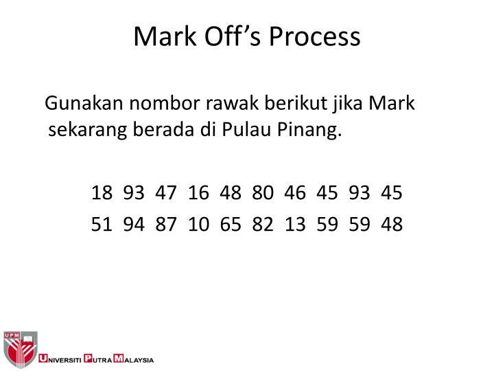 Gunakan nombor rawak berikut jika Mark sekarang berada di Pulau Pinang.