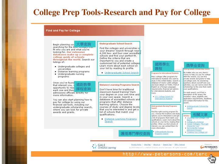 College Prep Tools-Research and Pay for College