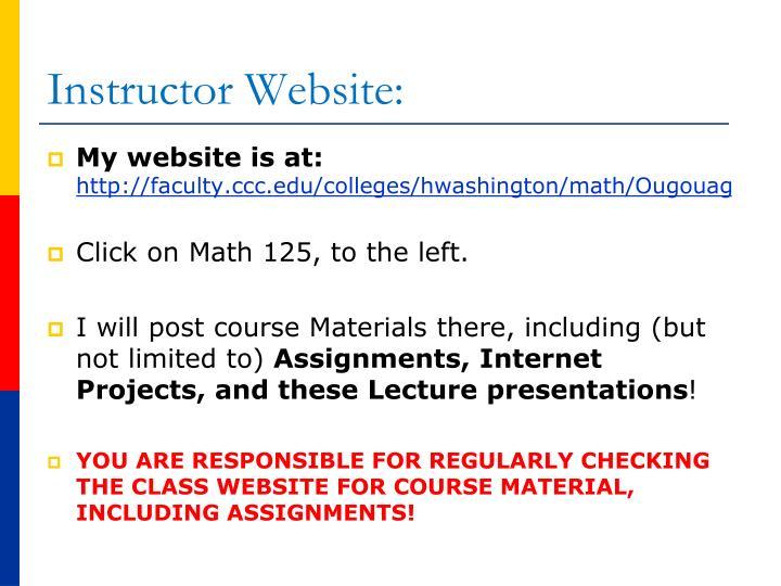 Instructor Website: