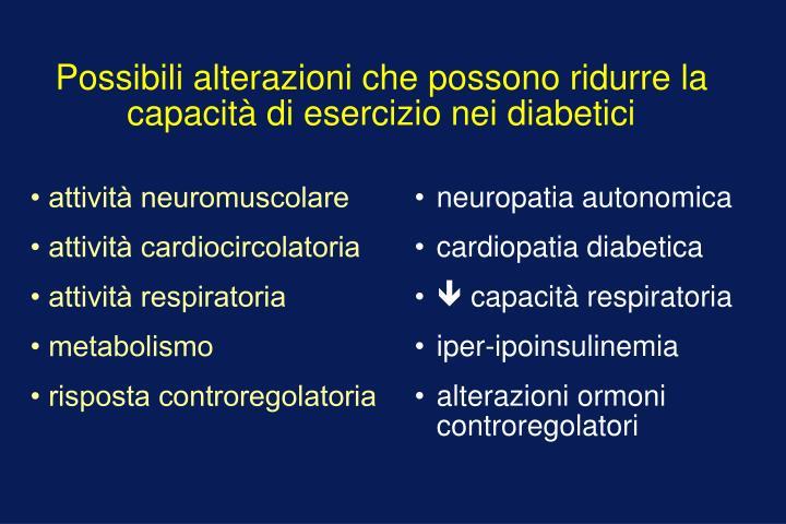 Possibili alterazioni che possono ridurre la capacità di esercizio nei diabetici