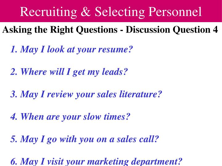 Recruiting selecting personnel