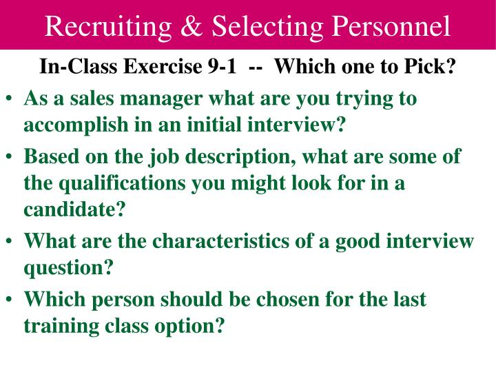 Recruiting selecting personnel1