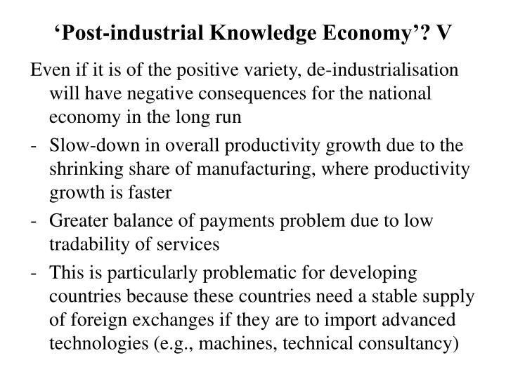 PPT - The Manufacturing Sector - A Key Foundation for a ... Post Industrial Economy