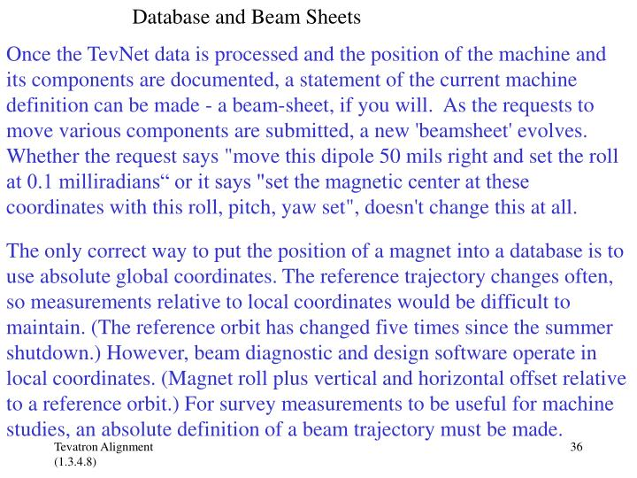 Database and Beam Sheets