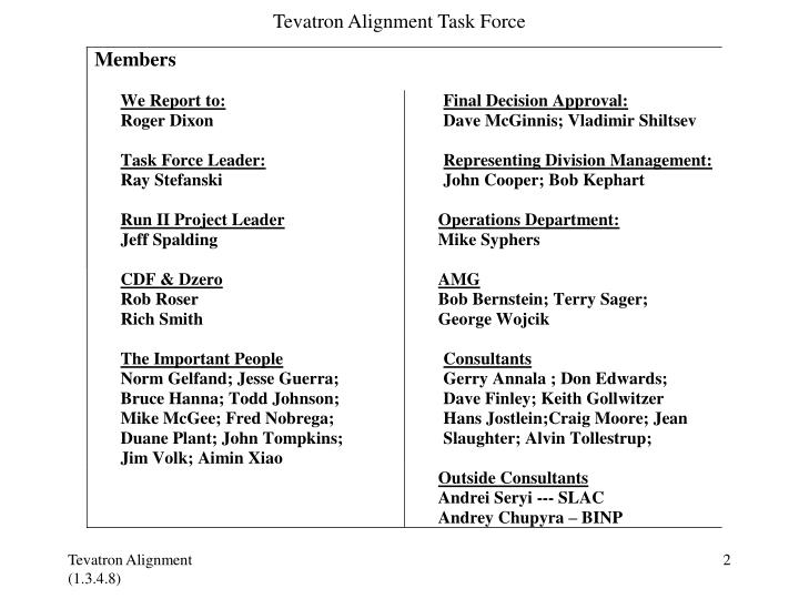 Tevatron alignment task force