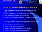 criteria s for analyzing of map projections