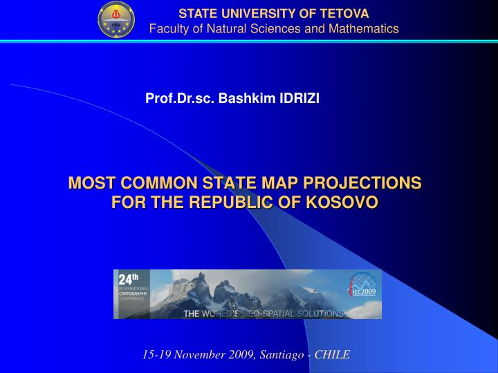 most common state map projections for the republic of kosovo n.