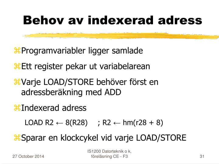Behov av indexerad adress