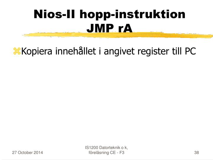 Nios-II hopp-instruktion