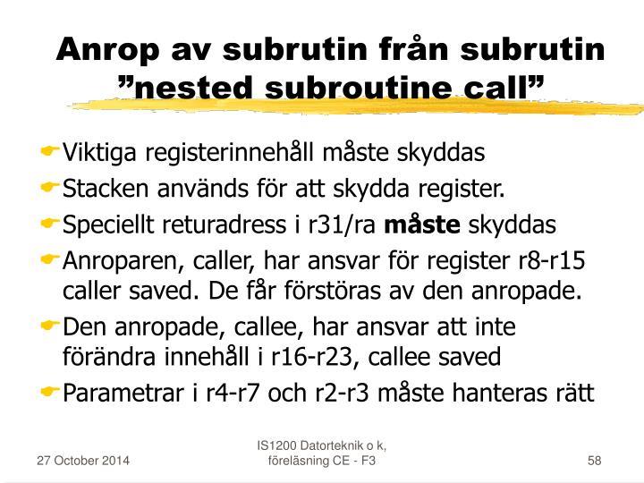 Anrop av subrutin från subrutin