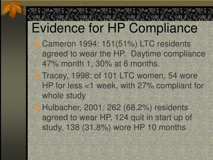 Evidence for HP Compliance