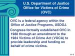 u s department of justice office for victims of crime ovc