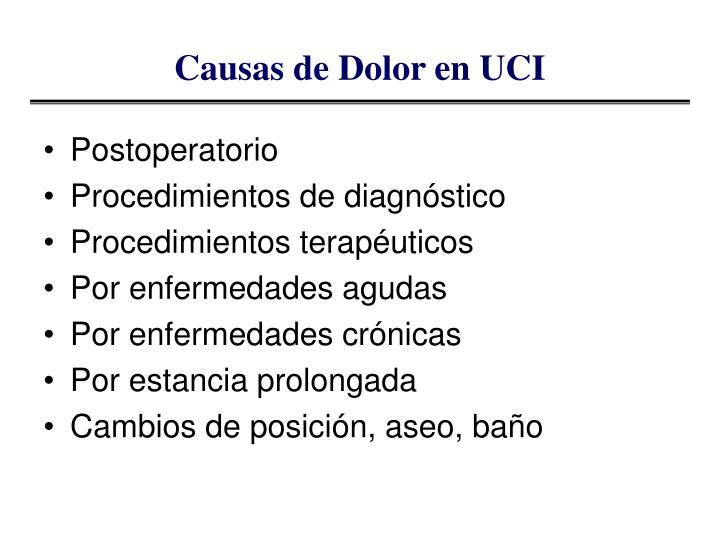 Causas de Dolor en UCI