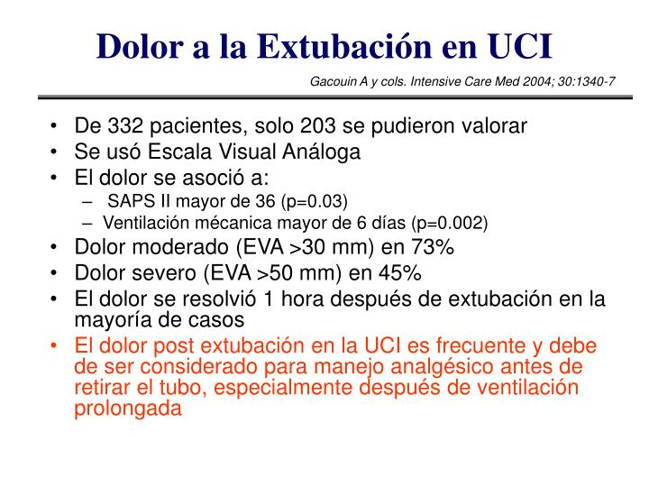Dolor a la Extubación en UCI