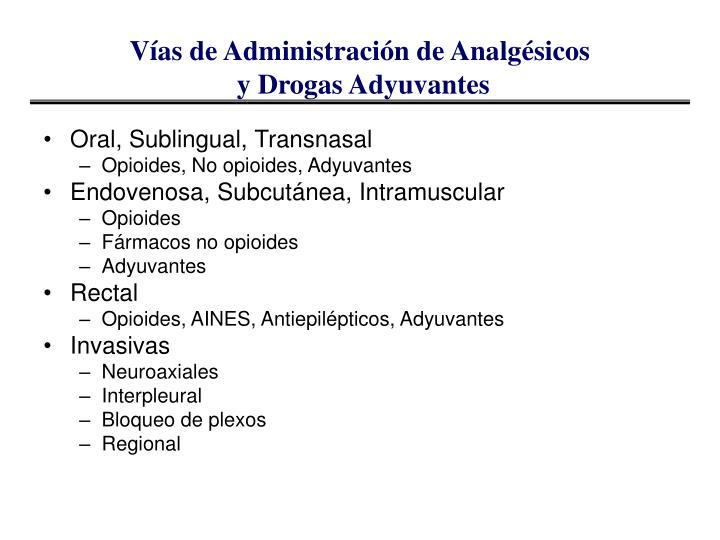 Vías de Administración de Analgésicos