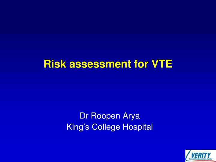 risk assessment for vte n.