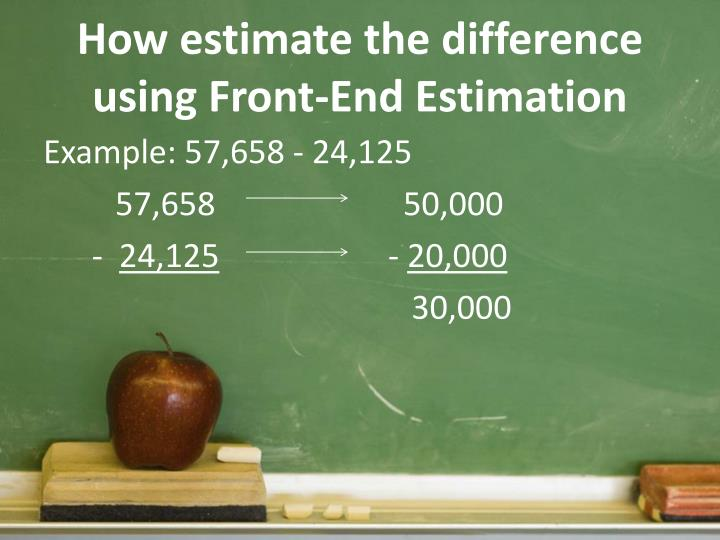 How estimate the difference using Front-End Estimation