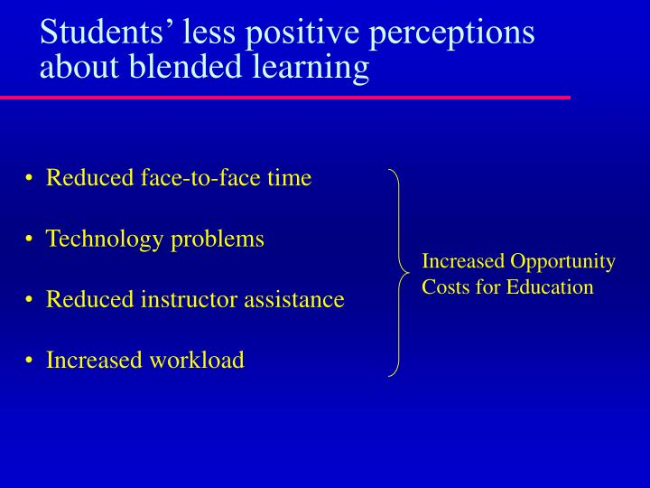 Students' less positive perceptions about blended learning